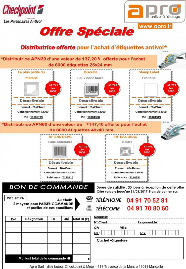 Promotion distributrice offerte pour l'achat d'étiquettes antivol